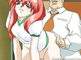 Fiery redheaded hentai babe