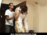 Slutty cat woman Rui Aikawa rides on a thick cock