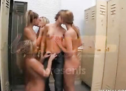 five lesbian sluts ass-fuck