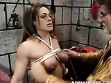 Girl takes weights on the pussy