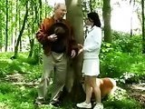 Old man fucks hot girl in the forest