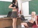 Blonde lesbian spanking her lover