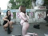Cutie forced to threesome in public