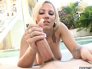 handjob near the poolside