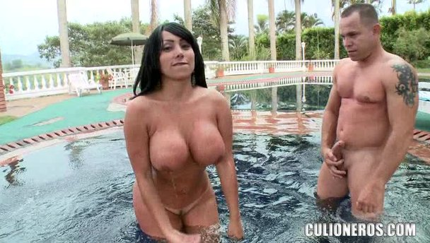 Big boobs milf poolside