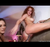 Hard lesbian's ass drilling with dildos