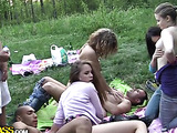 Students outdoor group fucking video