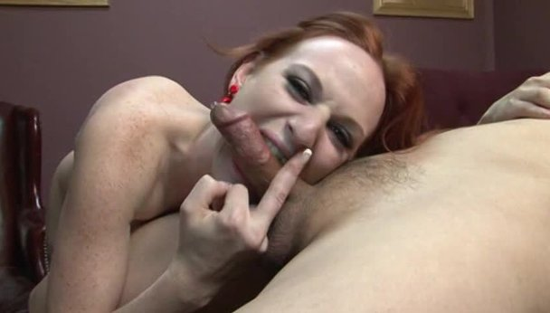 image Red haired slut has her legs bound and pulled up while old guy looks on