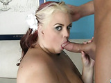 Young bbw swallows cock
