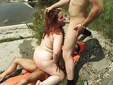 Threesome outdoors fucking