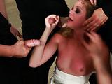 Blonde slut sucking numerous cocks