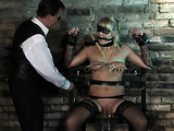Blonde in mask gets fucked with a vibrator