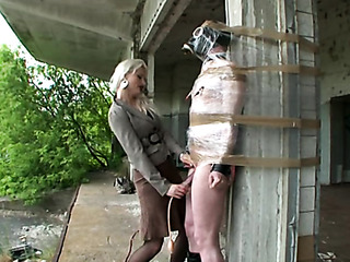 blonde mistress torturing wrapped
