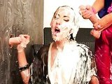 Lesbo all covered with jizz
