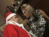 Horny Santa fucking cool blonde