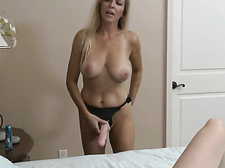 blonde mom with strap-on