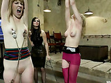 Two bitches get bondage by two gorgeous masochist lesbians as they strap-on dildo fuck them after being full hand fucked, whipped and totally felt pain before sexual sensation