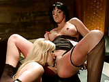 Pussy addict lesbian blonde gets one bitch in bondage as she joyously plays her naked body with whips and clips then fist and dildo fucks her