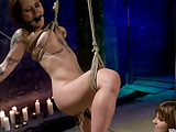 Slutty bitched bound in a swing as she is sexually whipped by a gorgeous masochist to submit in different sexual pleasures of dildo fucks, pussy eating, body clipping and pussy fingering