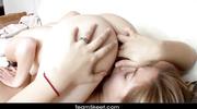 tattooed brunette teen licking