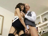Hot horny ebony damsel sucks cock deep throat and then rides Jim to orgasm