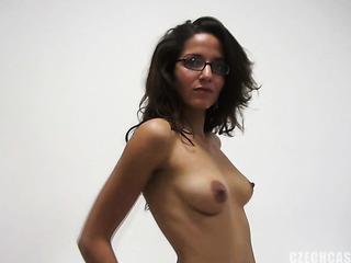horny glasses wearing brunette