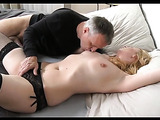 Horny blonde milf with lusciously big ass loves sucking and fucking her husbands thick cock.