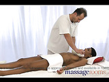 Thiis black haired ebony loves the way he shoves his big cock into her tight pussy after an oil massage.