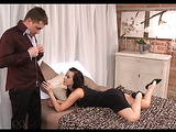Spicy brunette with lusciously big boobs gets her tight cunt hardcore penetrated.