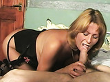 Nasty blonde housewife wearing stockings blowing some donkey