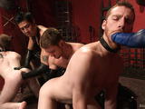 Two enslaved gays enjoy being roped and their asses tortured and fisted