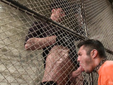 Dirty jailer uses various bdsm tolls and implements to jeer his prisoner