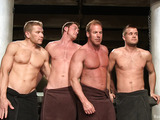 Wonderful bdsm scene with four gays pretending Roman soldiers