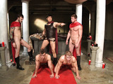 Cool role play with Roman soldier and group gay fucking with bdsm elements