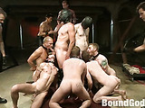Awesome scene of bdsm group tortures and humiliation in the basement with various tools and implements