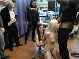 Inked blonde teen gets all her holes completely slammed while being public fucked and disgraced in the hat shop