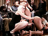 Bound ebony chick gets applied various bdsm tools for public disgrace and fucking in the bar