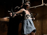 Very hot brunette chick with hairy twat gets enchained and suspended for hard punishment and fucking in bondage