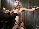 Slim blonde babe gets enchained in doggy style and fisted till squirting