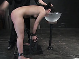 Oiled small-titted brunette teeny gets tortured with clover-clamps when sitting on a fucking machine in a bondage
