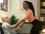 Ponytailed ebony tranny in black stockings fucking into ass hard her nasty boss
