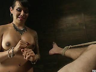 tattoooed ponytialed tranny tugging