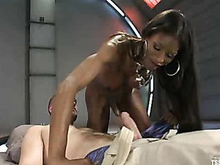 ebony ponytailed t-girl forces