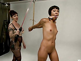 Small-titted brunette teen in torn tights getting tied up and tortured with clamps and caning while fucked hard