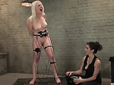 Busty blonde bitch enjoys hard tortures with electric bdsm tools