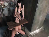 Busty brunette babe getting tortured with electric tools while stretched and fucked by fucking machine
