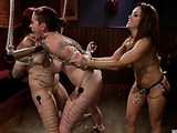 Two inked busty teen redheads gets roped and punished badly and fucked in the bar