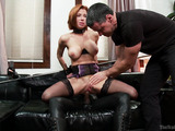 Red MILF with big lips in stockings jeered and tortured badly before hard fucking with black dick into all holes