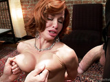 Ginger mom with big boobs in red lingerie and stockings squirting heavily when trained for hard bdsm fucking