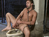 Gagged and roped gay gets his ass tortured with huge dildos and fucking machine